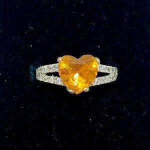 Fragrant Jewels Orange Heart Ring Size 8